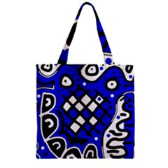 Blue High Art Abstraction Zipper Grocery Tote Bag by Valentinaart