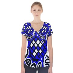 Blue High Art Abstraction Short Sleeve Front Detail Top