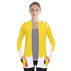 Belgium Flag Map Women s Open Front Pockets Cardigan(p194)