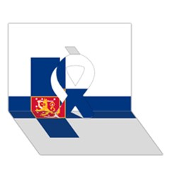 State Flag Of Finland  Ribbon 3d Greeting Card (7x5)