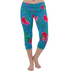 Carnations Capri Yoga Leggings by DanaeStudio