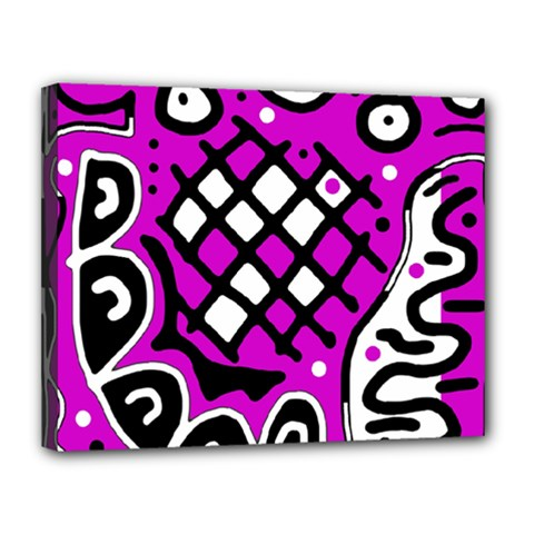 Magenta High Art Abstraction Canvas 14  X 11  by Valentinaart