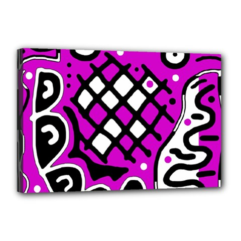 Magenta High Art Abstraction Canvas 18  X 12  by Valentinaart
