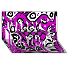 Magenta High Art Abstraction Happy Birthday 3d Greeting Card (8x4) by Valentinaart