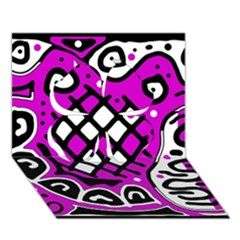 Magenta High Art Abstraction Clover 3d Greeting Card (7x5)