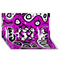 Magenta High Art Abstraction Best Sis 3d Greeting Card (8x4) by Valentinaart
