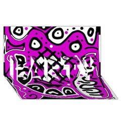 Magenta High Art Abstraction Party 3d Greeting Card (8x4)