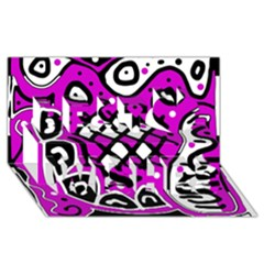 Magenta High Art Abstraction Best Wish 3d Greeting Card (8x4) by Valentinaart