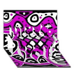 Magenta High Art Abstraction Miss You 3d Greeting Card (7x5)