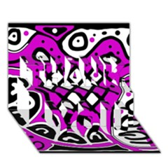 Magenta High Art Abstraction Thank You 3d Greeting Card (7x5) by Valentinaart