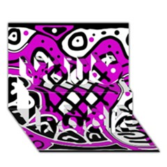 Magenta High Art Abstraction You Rock 3d Greeting Card (7x5) by Valentinaart