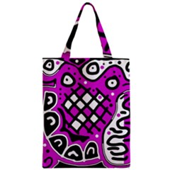 Magenta High Art Abstraction Zipper Classic Tote Bag by Valentinaart