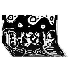 Black And White High Art Abstraction Best Sis 3d Greeting Card (8x4) by Valentinaart