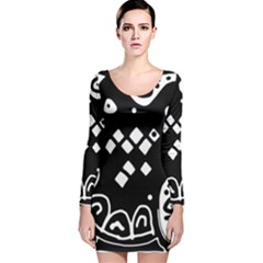 Black And White High Art Abstraction Long Sleeve Velvet Bodycon Dress by Valentinaart