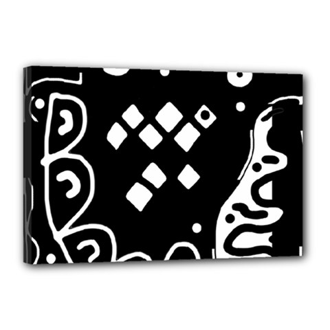 Black And White High Art Abstraction Canvas 18  X 12  by Valentinaart