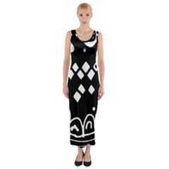 Black And White High Art Abstraction Fitted Maxi Dress by Valentinaart