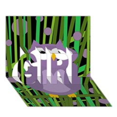 Purple Owl Girl 3d Greeting Card (7x5) by Valentinaart