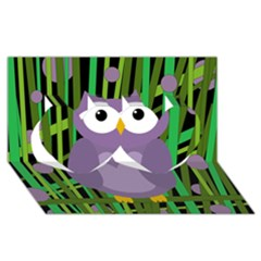 Purple Owl Twin Hearts 3d Greeting Card (8x4) by Valentinaart