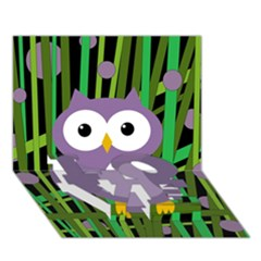 Purple Owl Love Bottom 3d Greeting Card (7x5) by Valentinaart
