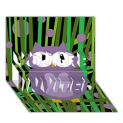 Purple Owl You Are Invited 3d Greeting Card (7x5) by Valentinaart