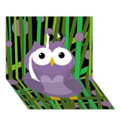 Purple Owl Apple 3d Greeting Card (7x5) by Valentinaart