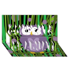 Purple Owl Congrats Graduate 3d Greeting Card (8x4) by Valentinaart