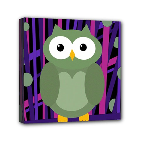 Green And Purple Owl Mini Canvas 6  X 6  by Valentinaart
