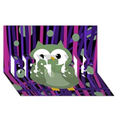 Green And Purple Owl Best Sis 3d Greeting Card (8x4) by Valentinaart