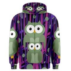 Green And Purple Owl Men s Zipper Hoodie