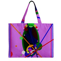 Pink Artistic Abstraction Zipper Mini Tote Bag by Valentinaart