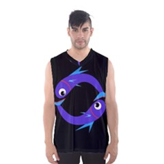 Blue Fishes Men s Basketball Tank Top by Valentinaart