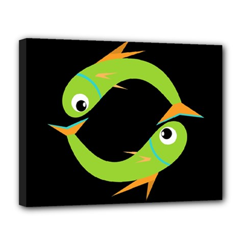 Green Fishes Canvas 14  X 11  by Valentinaart