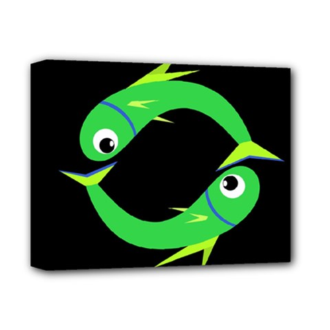 Green Fishes Deluxe Canvas 14  X 11  by Valentinaart