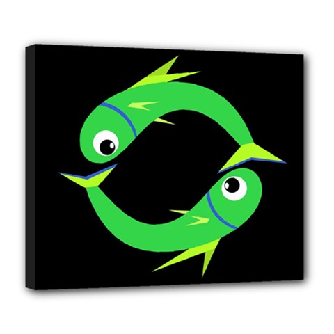 Green Fishes Deluxe Canvas 24  X 20   by Valentinaart