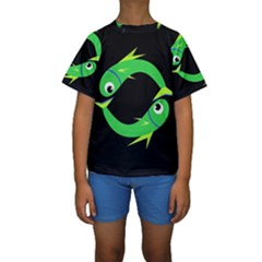 Green Fishes Kid s Short Sleeve Swimwear by Valentinaart