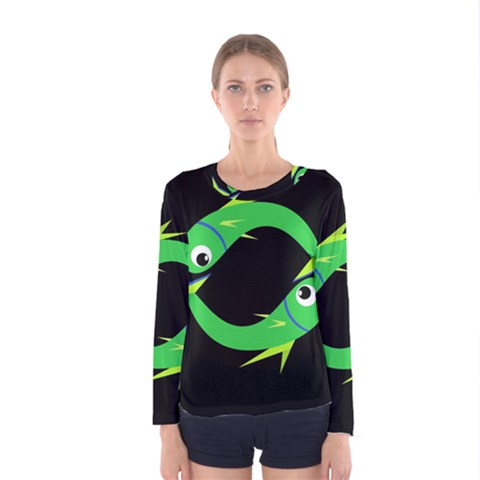 Green Fishes Women s Long Sleeve Tee by Valentinaart