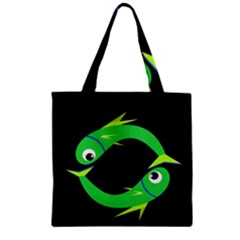 Green Fishes Zipper Grocery Tote Bag by Valentinaart