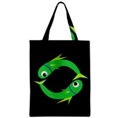 Green Fishes Zipper Classic Tote Bag by Valentinaart