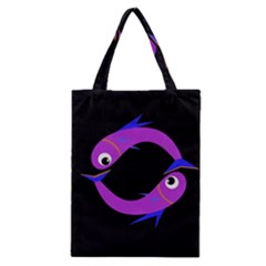 Purple Fishes Classic Tote Bag by Valentinaart