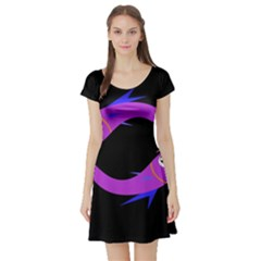 Purple Fishes Short Sleeve Skater Dress by Valentinaart