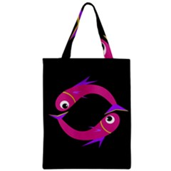 Magenta Fishes Zipper Classic Tote Bag by Valentinaart