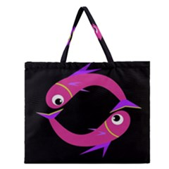 Magenta Fishes Zipper Large Tote Bag by Valentinaart