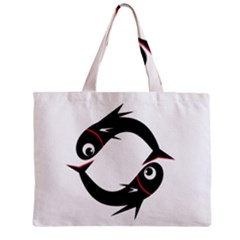 Black Fishes Zipper Mini Tote Bag by Valentinaart