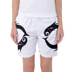Black Fishes Women s Basketball Shorts by Valentinaart