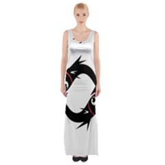 Black Fishes Maxi Thigh Split Dress by Valentinaart