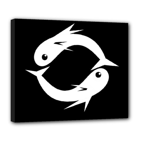 White Fishes Deluxe Canvas 24  X 20   by Valentinaart