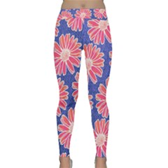 Pink Daisy Pattern Yoga Leggings  by DanaeStudio