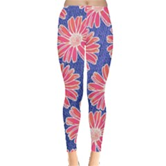 Pink Daisy Pattern Leggings  by DanaeStudio