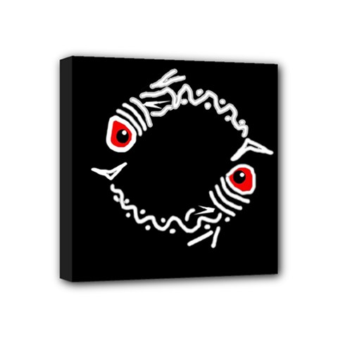 Abstract Fishes Mini Canvas 4  X 4  by Valentinaart