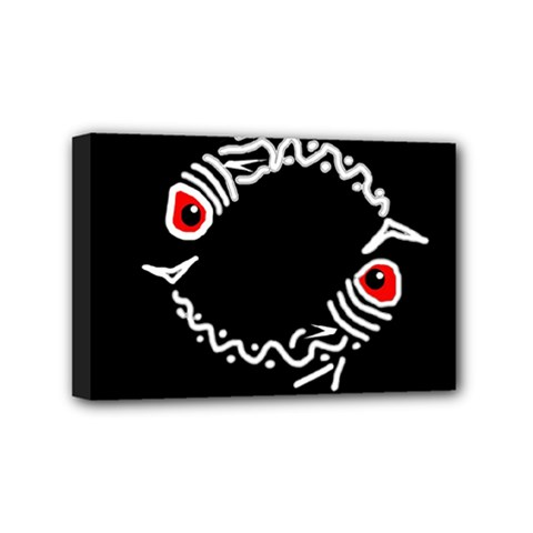 Abstract Fishes Mini Canvas 6  X 4  by Valentinaart